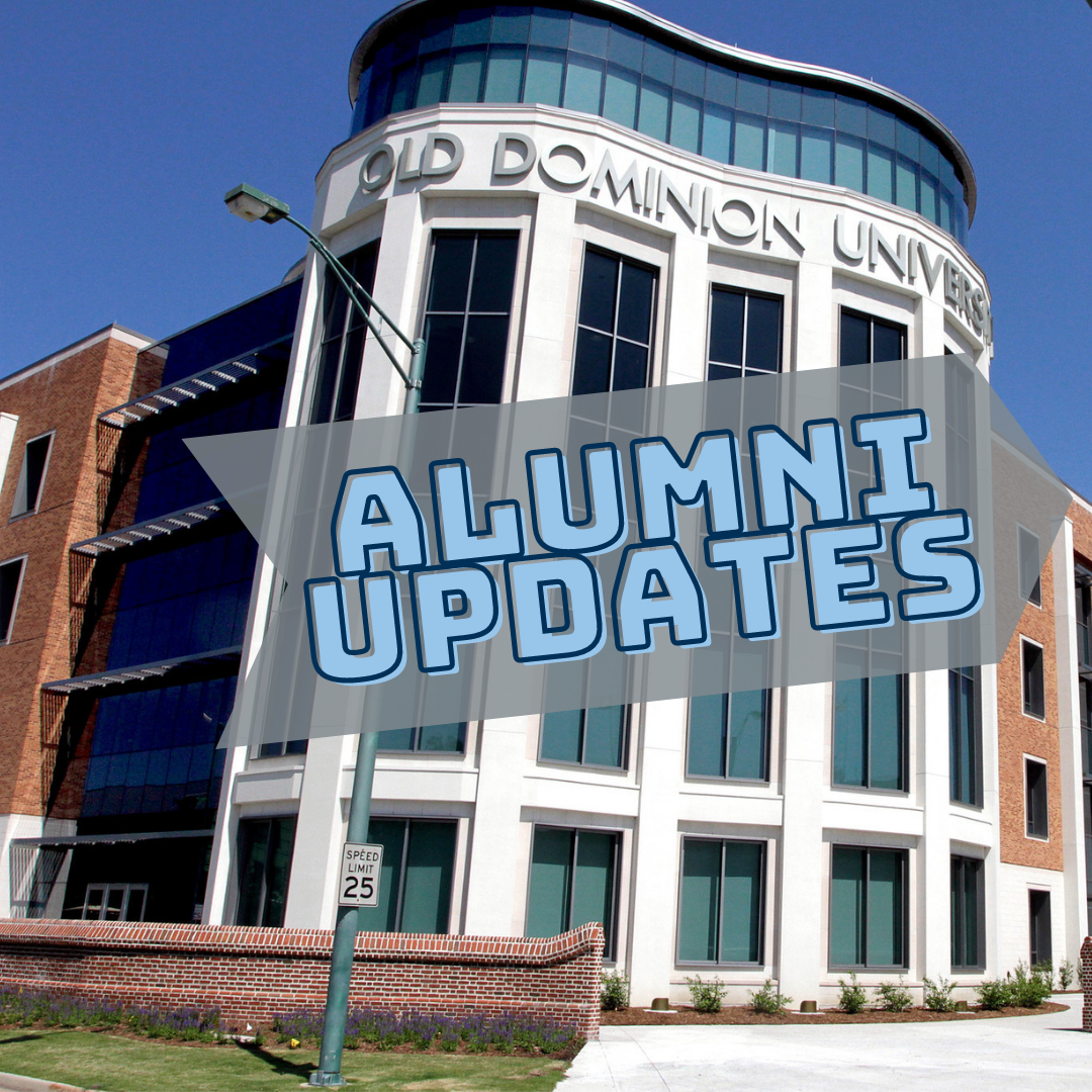 alumni updates - text over a picture of the Education Building at ODU