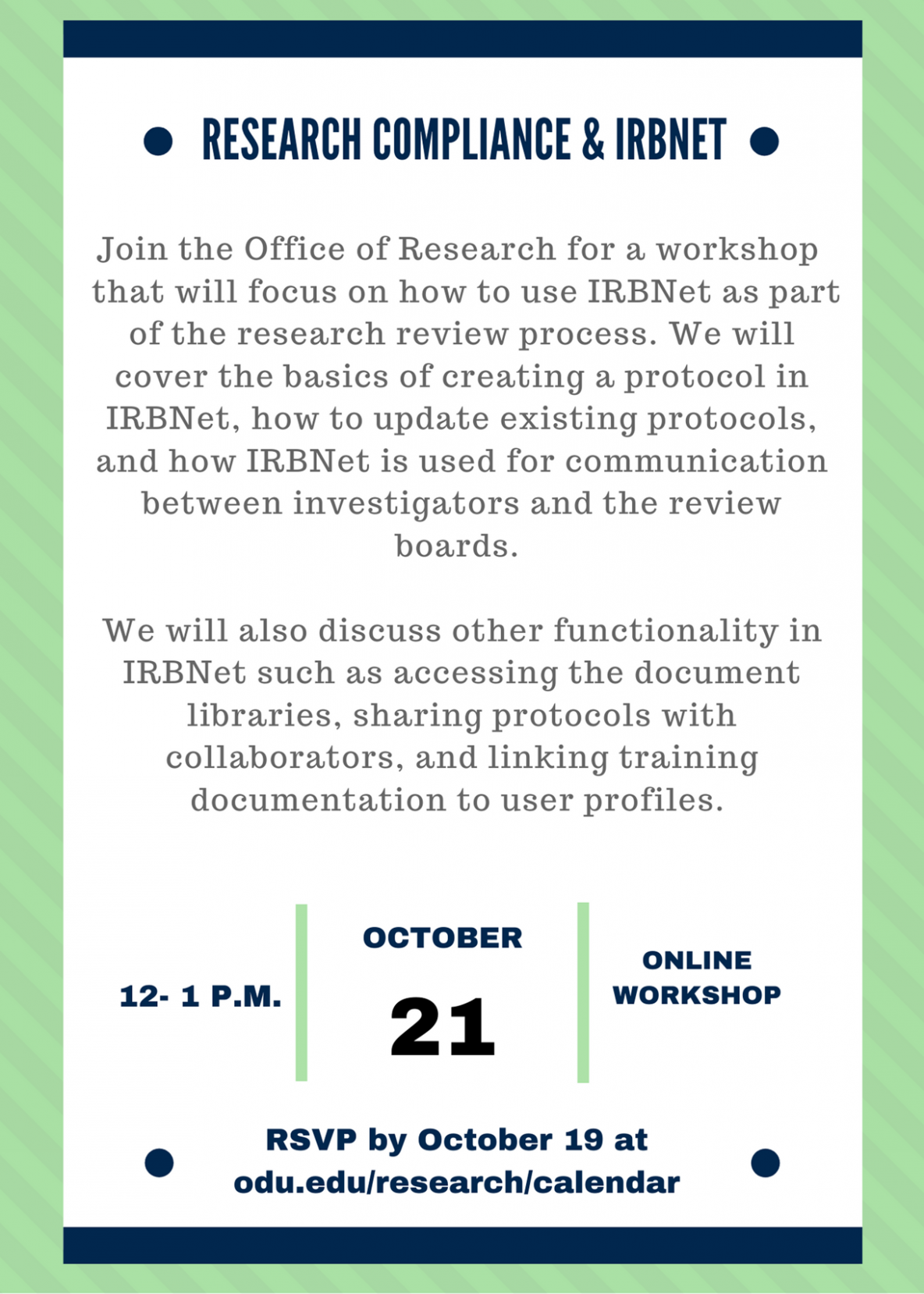 Office of Research IRBNet event 10/2020