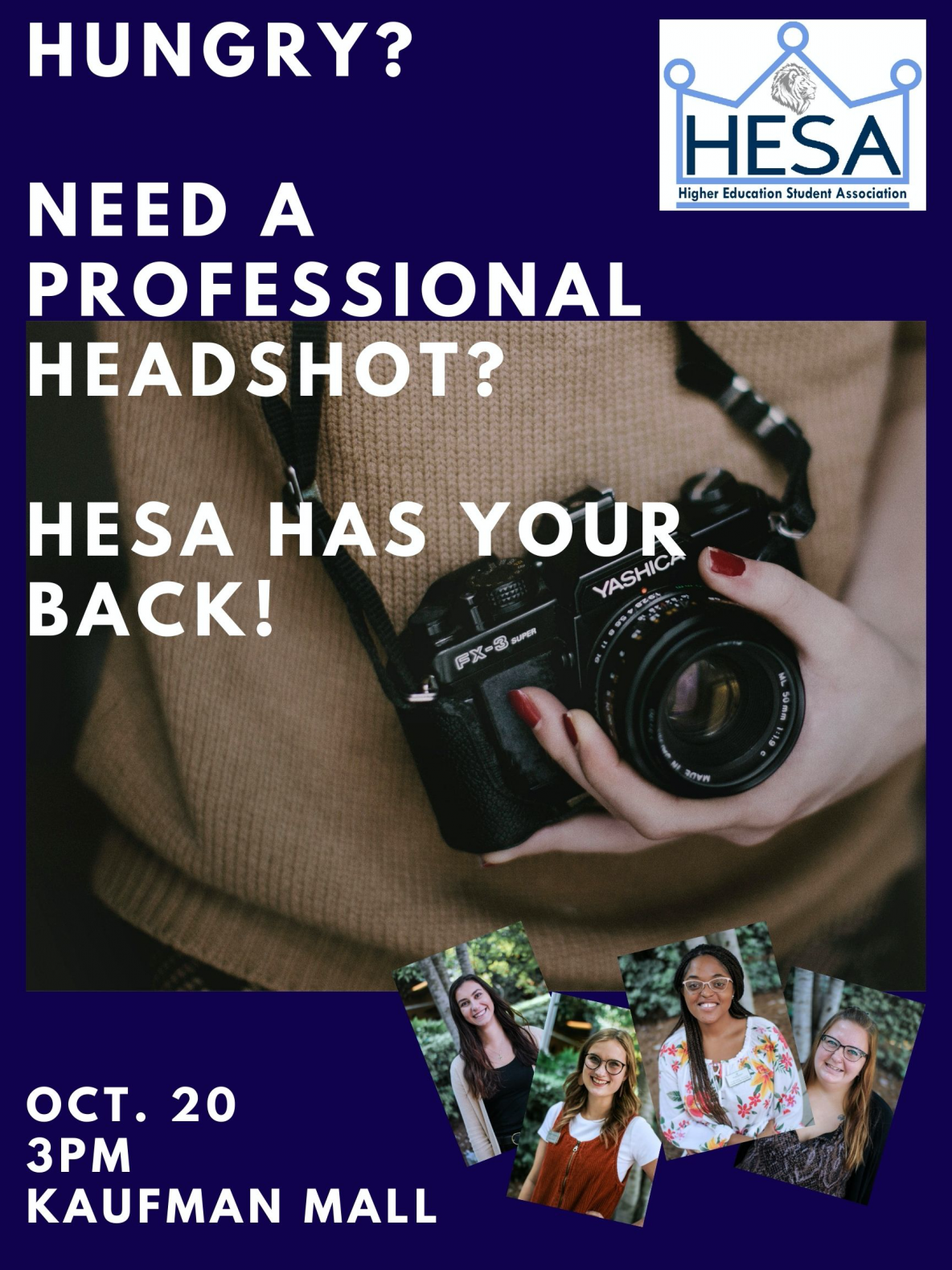 HESA Headshot event promotional flyer. Details in text of post
